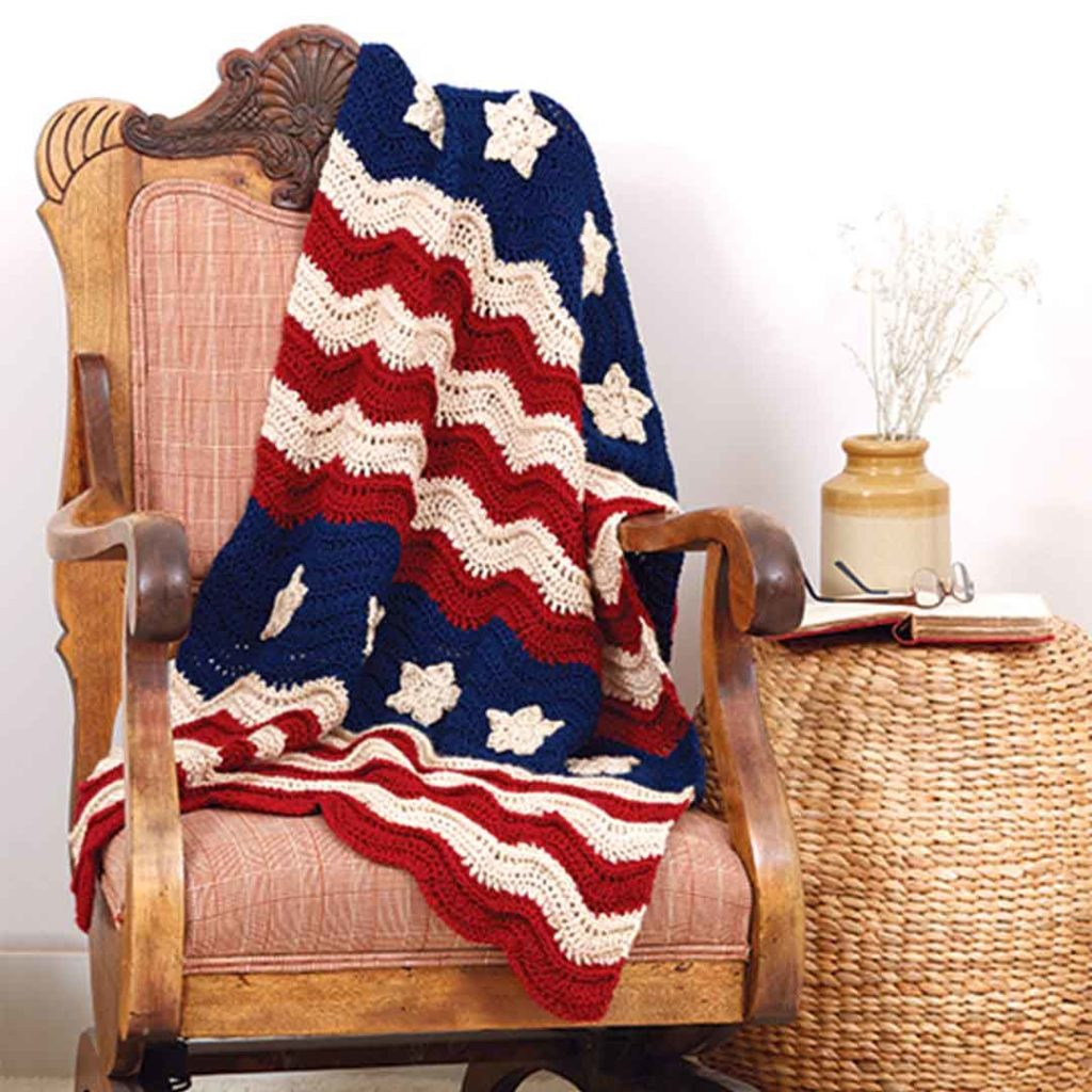 red white and blue afghan