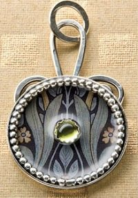 Paper, Resin, and Peridot Pendant by Eleanore Macnish