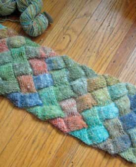 Learn how to make this basic entrelac scarf in this free guide on entrelac knitting.