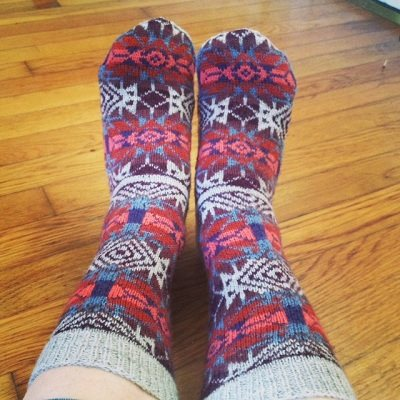 Bandelier Fair Isle socks by Lisa Shroyer