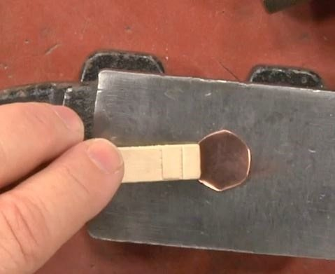 metalsmithing tip: use a clothespin to hold metal for hammering