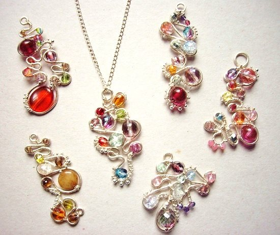 baroque wire and bead pendant alternative designs by Gayle Bird