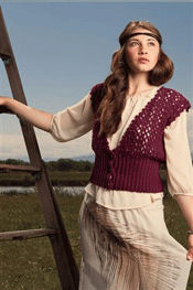 The wide crochet ribbing band is perfect  for this vest.