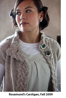 Rosamund's Cardigan, Fall 2009, an example of reversible cable knitting.