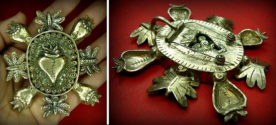 "Corazon Renacer (""reborn heart"") metal clay pin/pendant by Lorena Angulo front and back"