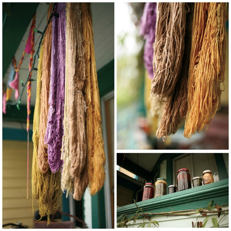 Finished, dyed yarns drying in the sun.