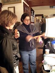 Amy gives an impromptu silk hankie spinning demo