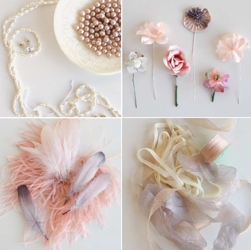 make special occasion and wedding jewelry using pearls, fabric flowers, feathers, ribbon and more in Adornments
