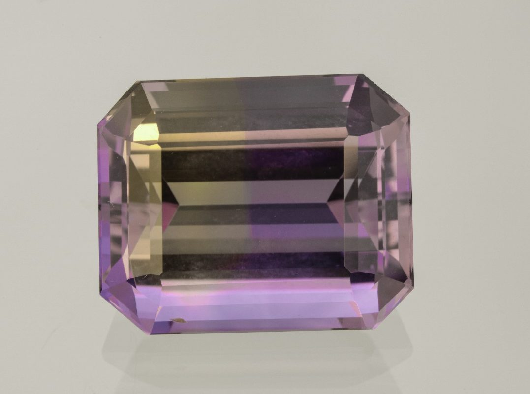 Ametrines---part amethyst, part citrine---are popular because they are unusual and not break-the-bank expensive. This exceptionally cut 17.15 carat example is from Pala International. Photo Mia Dixon, courtesy Pala International.