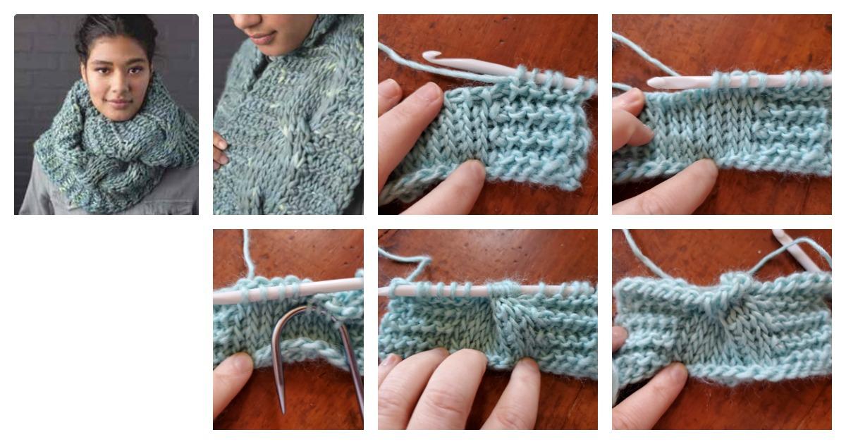 Audrey super cowl Tunisian crochet cables