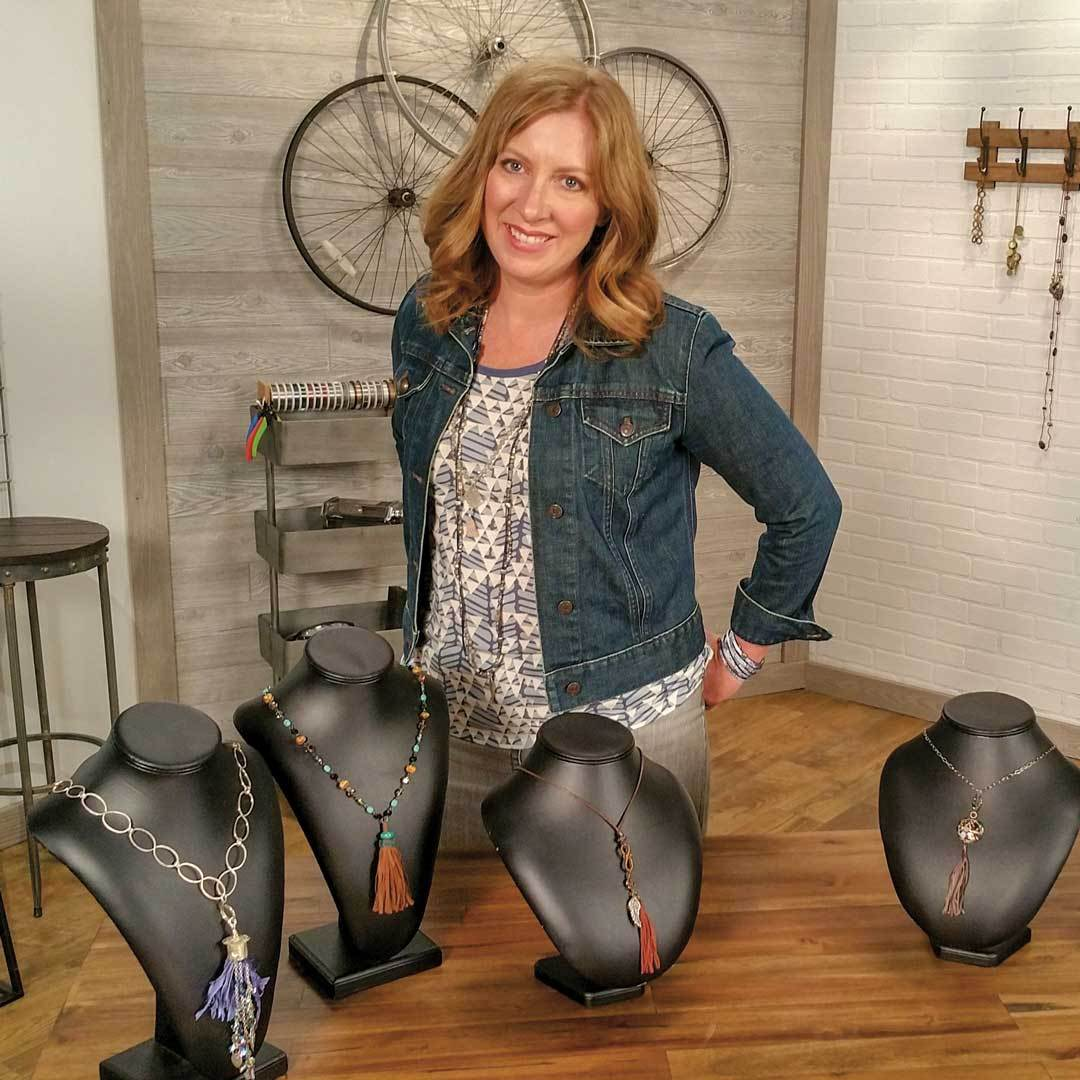 Host Katie Hacker on the set of Beads, Baubles & Jewels.
