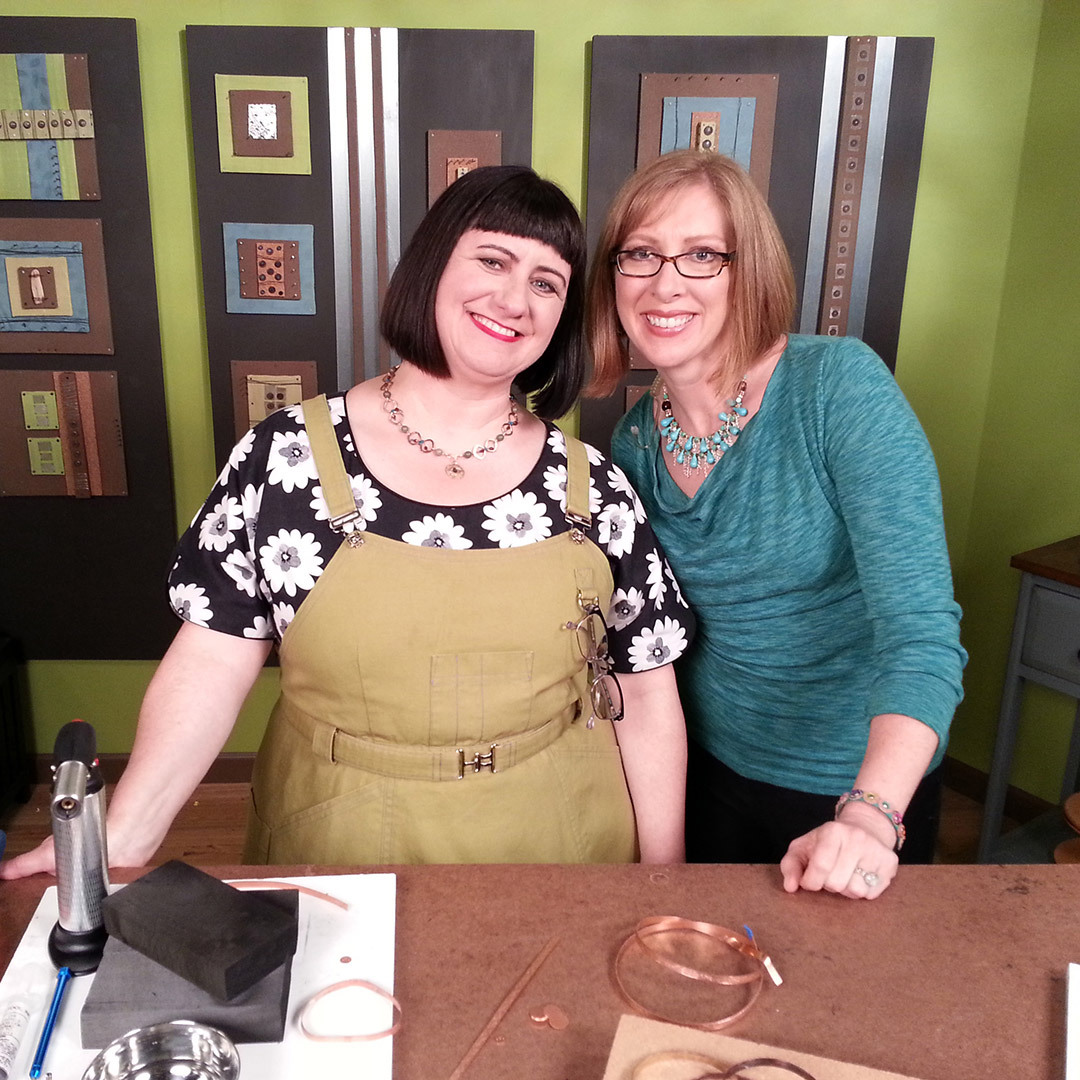 Kate Richbourg and Katie Hacker on the set of Beads, Baubles & Jewels