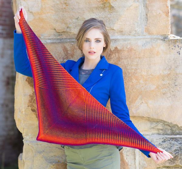 Zsuzsa Kiss' Tourlaville Shawl incorporates stockinette and brioche stitches to make a beautiful, striped shawl
