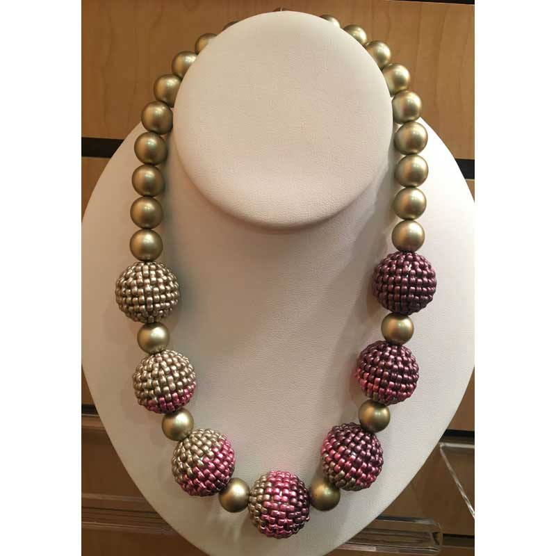 Shaped Beads: INFinity MInis and Es-o Minis. Beaded beads necklace.