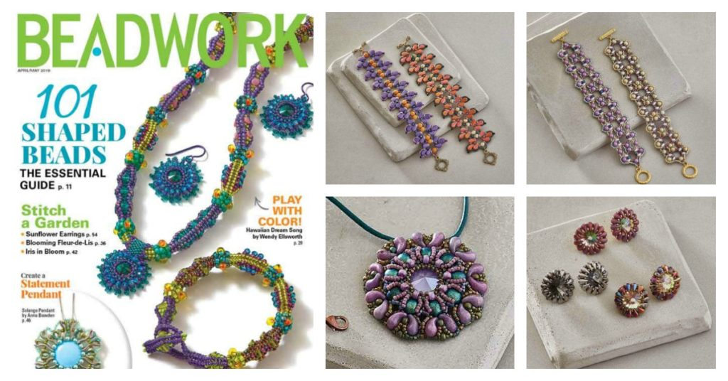 Beadwork April/May 2019 cover, (clockwise) Iris in Bloom by Debora Hodoyer, Quatrefoil Lace Bracelet by Debora Hodoyer, Tymeo Pendant by Vezsuzsi, Sunflower Earrings by Edwin Batres, shaped beads designs