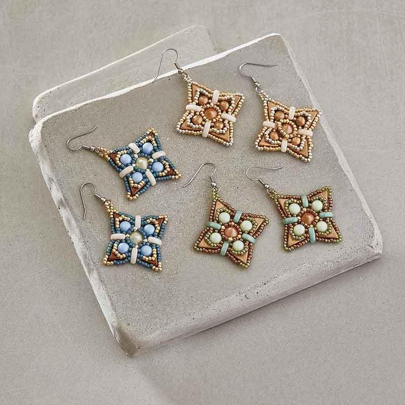 shaped beads: Compass Rose earrings by EvelÍna Palmontová