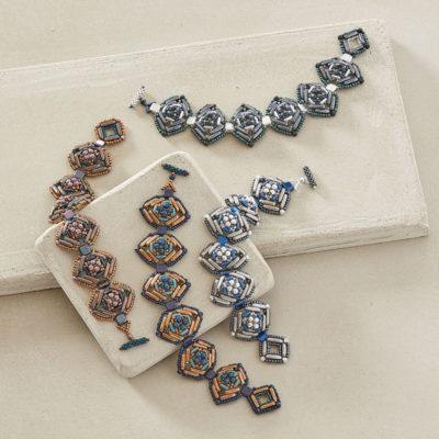 Deco Diamond Bracelet by Penny Dixon, Beadwork magazine December 2017/January 2018