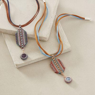 Striped Mosaic Pendant by Cindy Kinerson, Beadwork magazine December 2017/January 2018