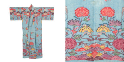 Woman's robe with pine bark, chrysanthemum, wisteria, swallows, mountains, and flowing water on an aqua ground. Shuri, Okinawa, 19th century. Private collection (on loan to the Okinawa Prefectural Museum and Art Museum). Only the highest aristocracy were permitted large-scale motifs like those seen on this robe, which required separate stencils for patterning the shoulder, waist, and hem. This robe was created as a gift from Sho Tai (1843-1901), the last ruler of the Ryukyu Kingdom, to his newly married daughter.  PHOTOS COURTESY OF THE TEXTILE MUSEUM.