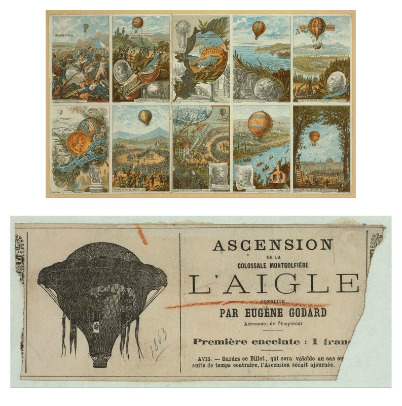 A set of collecting cards depicting balloon aviation events from 1783 and beyond. The first Montgolfier flight appears in the bottom row, second from the left. Credit: Library of Congress, Prints & Photographs Division, LC-DIG-ppmsca-02562; Admission ticket to a Montgolfier balloon flight in 1863 or 1864. Credit: Library of Congress, Prints & Photographs Division, LC-DIG-ppmsca-02549;