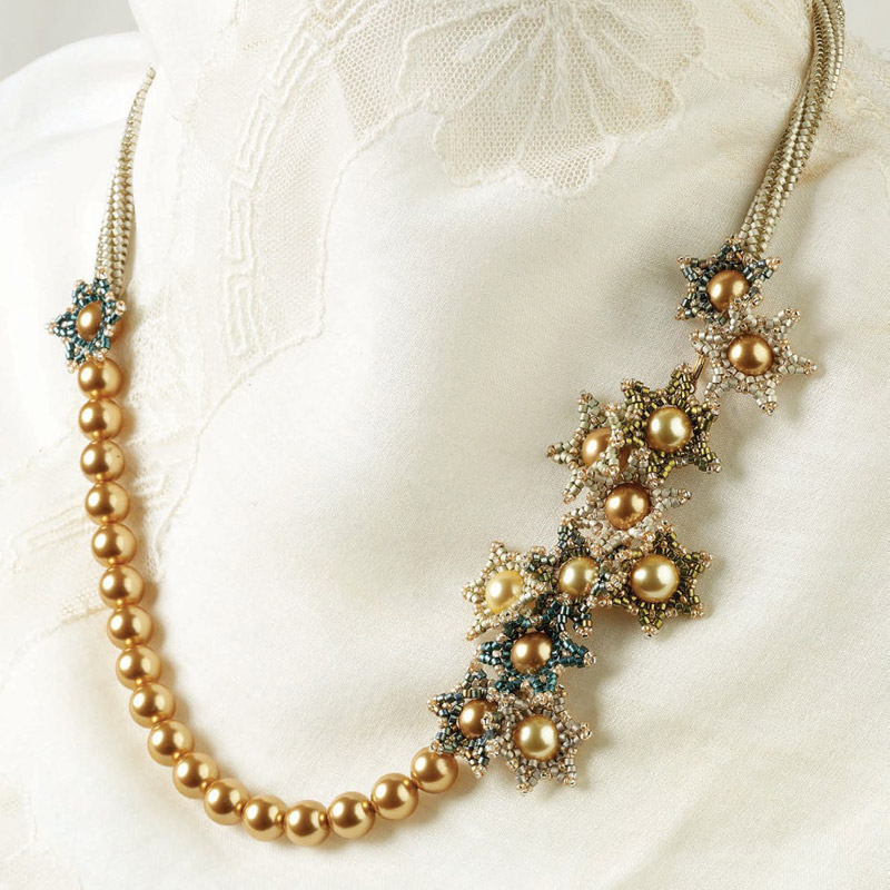 8 Beading Projects to Love -- Without Shaped Beads! Edelweiss Necklace by Melinda Barta