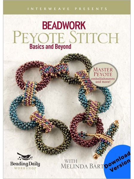Melinda Barta teaches everything you need to know about peyote stitch in her Basics and Beyond Video.