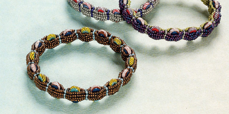8 Beading Projects to Love -- Without Shaped Beads! The Tambourine Bangles by Melinda Barta