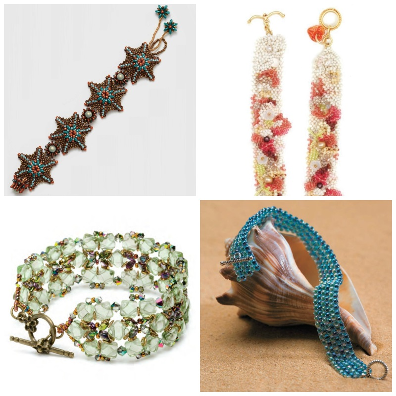 Bead Weaving: Summer-Inspired Beading Designs for the 4th of July. Beachy bracelets: Clockwise, from top left: Aral Sea, Beachcomber Bracelet, Sea Glass Garden, Caribbean Sojourn