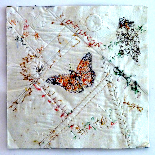 beading through the fabric and batting layer, by Nancy Eha