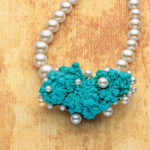 Reverse Soldering: Tiny Bubbles Pearl and Turquoise Invisible Setting Necklace by Betsy Lehndorff