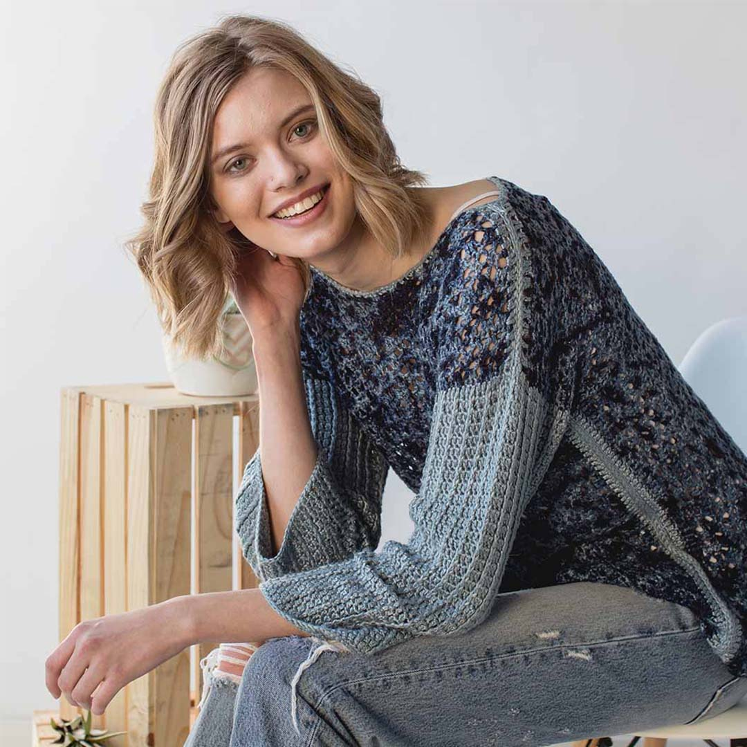 Blue-on-Blue Sweater from <em>Interweave Crochet</em> Summer 2018 | Photo Credit: Harper Point Photography