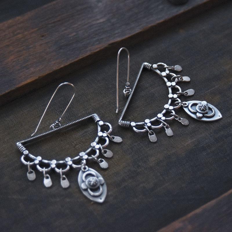 Bridge Earrings by jewelry artist Jessica Jordan. Sterling Silver