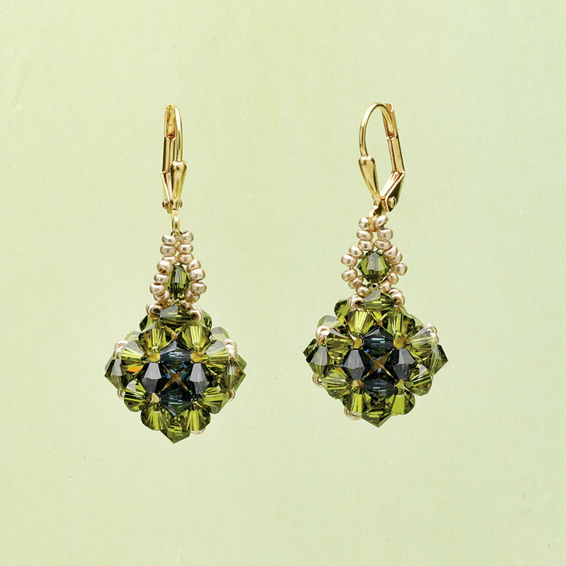 7 Beaded Jewelry Designs Inspired by Pantone's Color of the Year. Crystal Caged Earrings