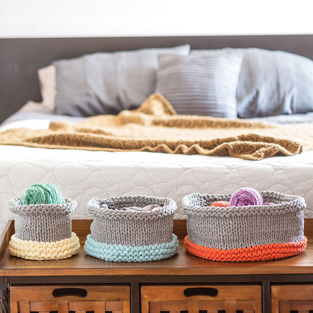 This basket knitting pattern is the perfect functional handknit decor item.