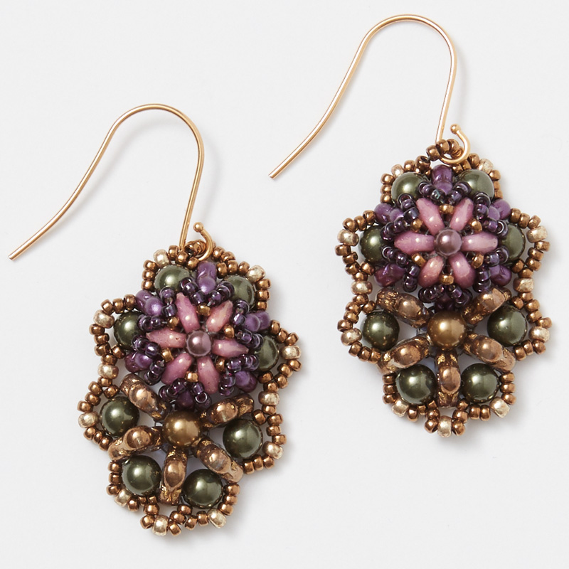 Earring Variation of Carolyn Cave's Beaded Trinity Pendant