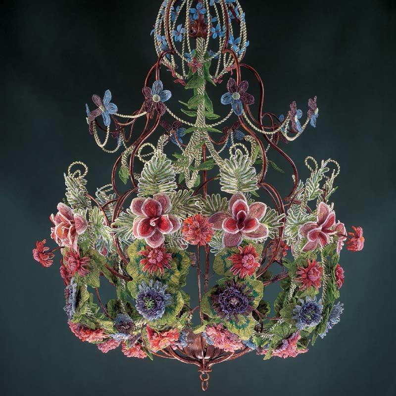 Bead Weaving: Start Your Spring with Beaded Leaves and Flowers with Huib Petersen. Beaded flower chandelier as seen in Beads in Bloom by Arlene Baker