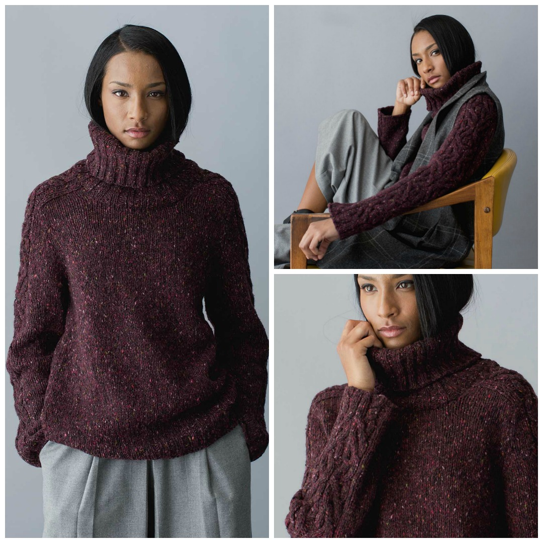 954bdebe03c8c The Charles Pullover is a luxurious turtleneck winter knitting pattern with  unusual cabling down the sleeves
