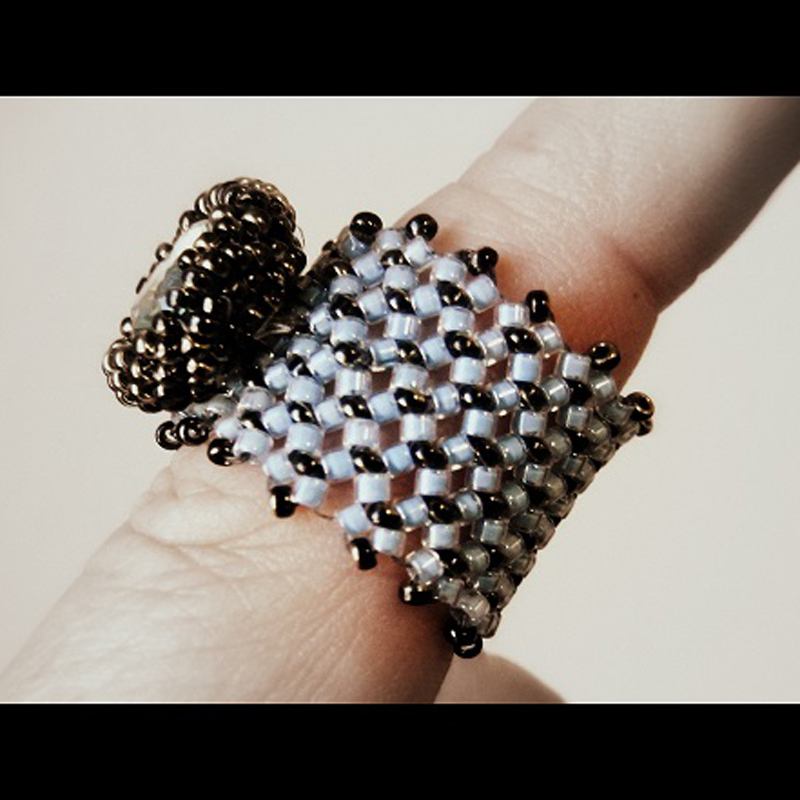 chenille stitch rings done in an Interweave bead weaving class -impromptu style!