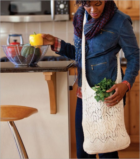 You'll love these knitting bag patterns, such as this chevron market bag pattern.