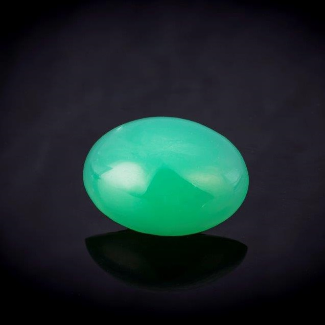 This 11.97 carat chrysoprase from Tanzania is luscious in color. Who needs jade? Photo Mia Dixon, courtesy Pala International.