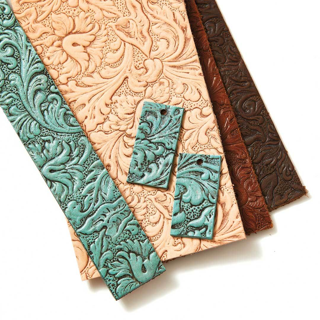 The Classic Bead brings you a few new leather options for your jewelry making: embossed leather is shown here; leather tassels and bead embroidery backing are shown in the opening image.