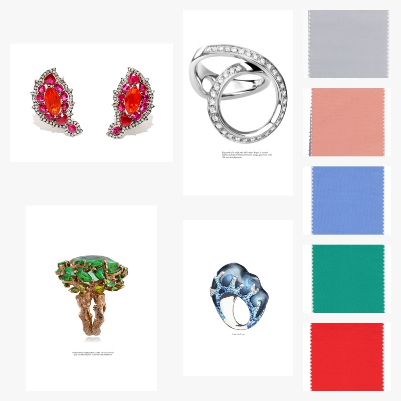 Pantone Colors: Harbor Mist, Blooming Dahlia, Little Boy Blue, Arcadia, and Cherry Tomato. Campbellian Collection, Phoenix Feathers Earrings. Photo: Courtesy Jewelrs of America. Lydia Courteille, Queen of Sheba Ring. Photo: Courtesy Swarovski. Roberto Marroni, Infinity Ring. Photo: Courtesy Swarovski. Isabelle Lopes, Ring. Photo: Courtesy Swarovski.