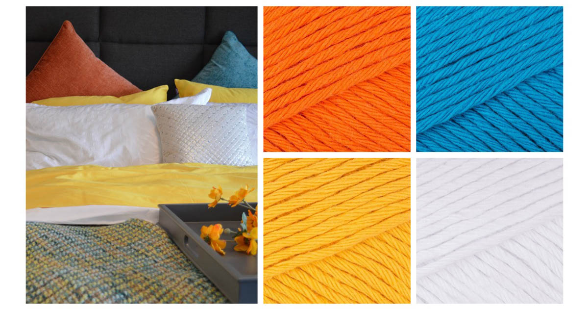 Crochet home decor: A colorful bedroom needs a Mandala Cushion in blood orange, kingfisher blue, mustard yellow, and paper white. | Photo Credit: Pixabay and Paintbox Yarns