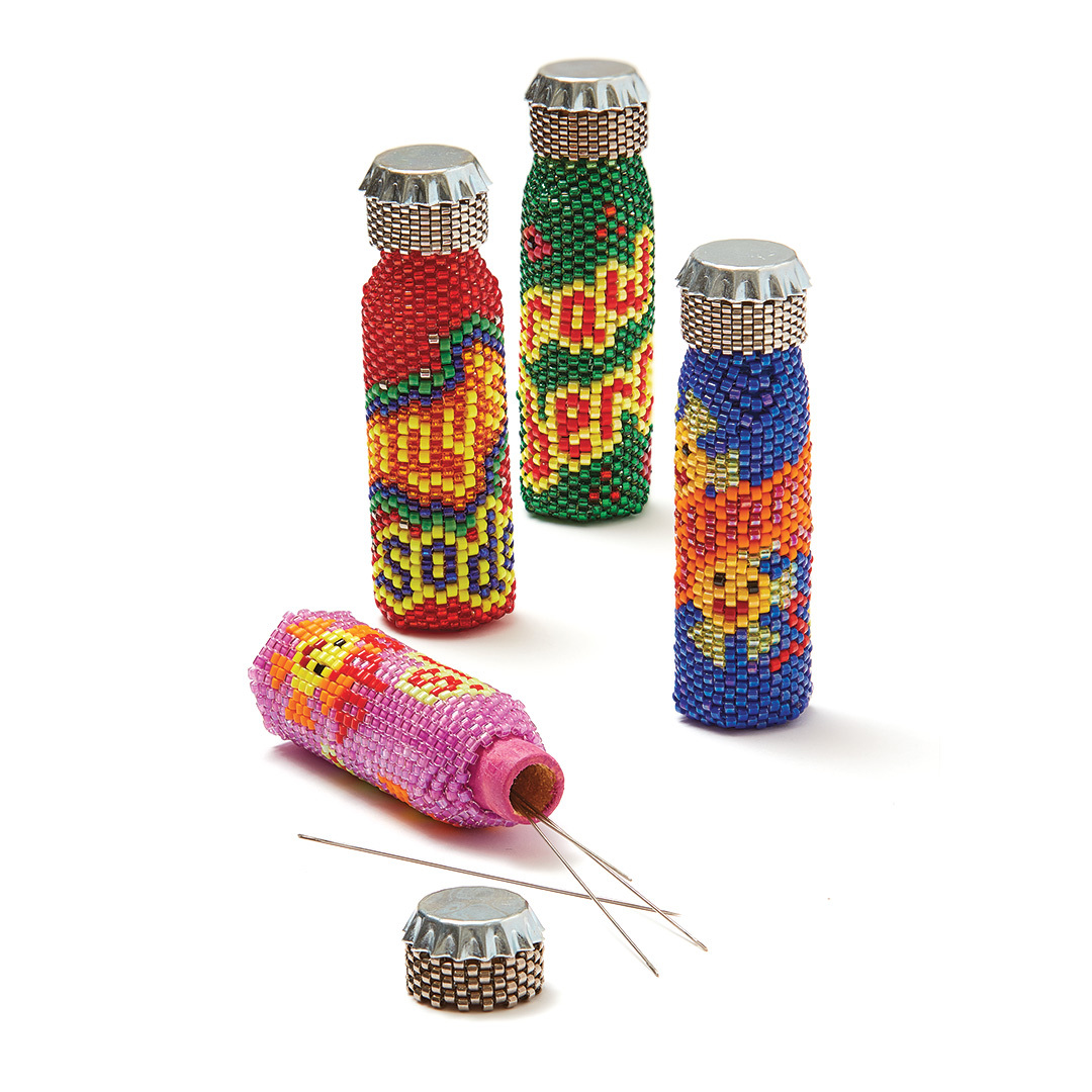 bottles covered in seed beads