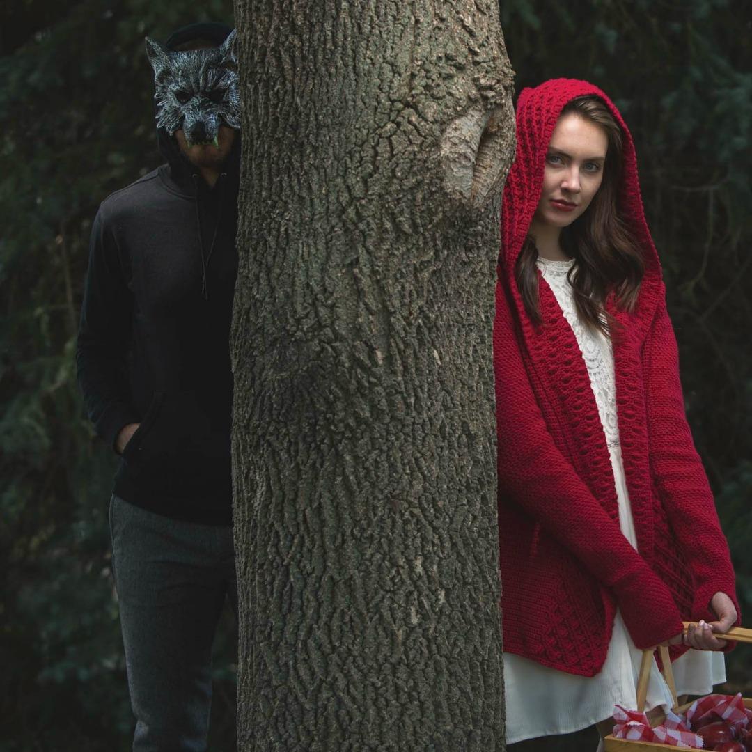 Crimson Hooded Cardigan