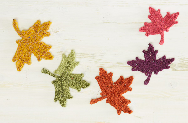 Crochet Leaf Pattern - 5 Maple Leaves in Tweed Yarn