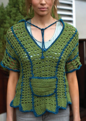 The Hooded Poncho is a fun crochet poncho pattern that can be found in our free eBook.