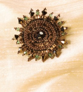 Learn how to make brooches with beads, such as this brooch called Crystal Radiance found in our free Beading Patterns for Seed Beads eBook.