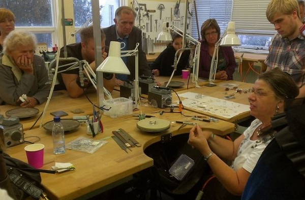 Cynthia Eid teaching how to make Argentium sterling silver jewelry