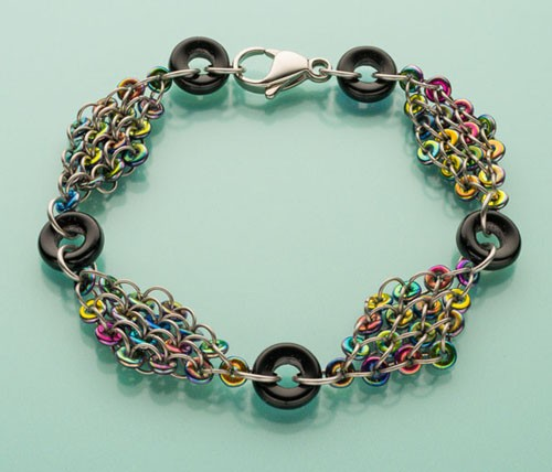 make this chain maille bracelet in three colorways